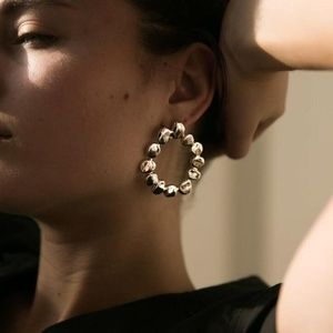 Gold Color Hollow Round Stud Earrings